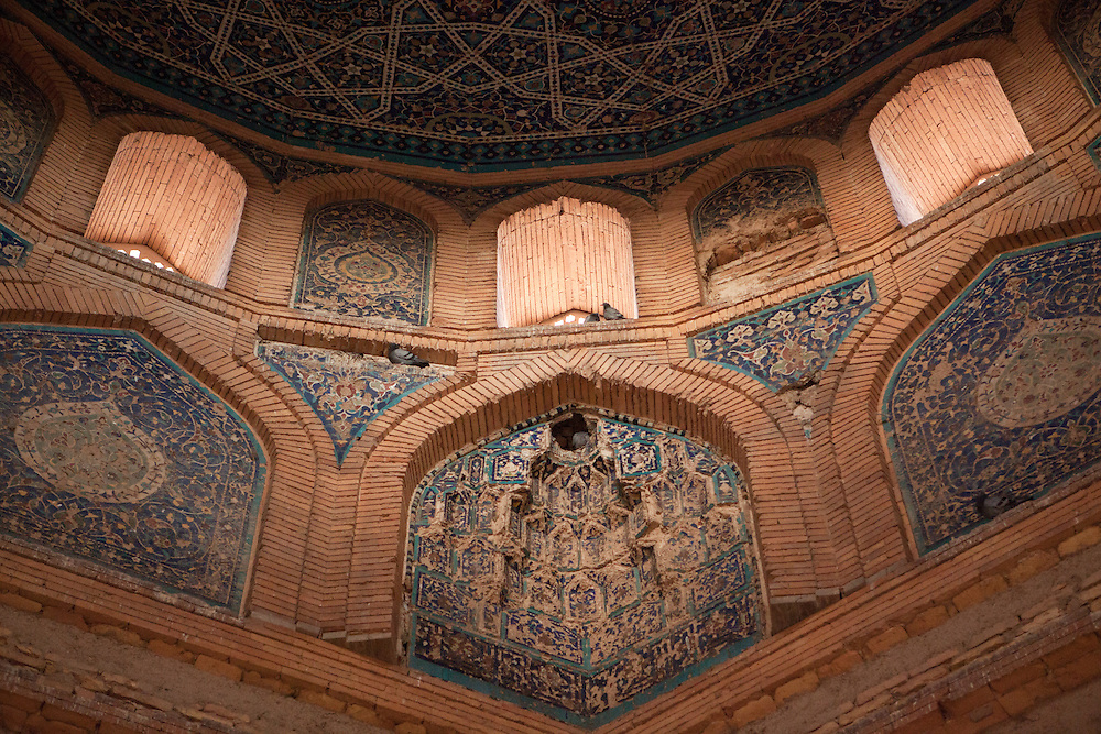 Details of the dome interior on the Turabeg Khayn Mausoleum, in the ruins of Konye-Urgench, Turkmenistan