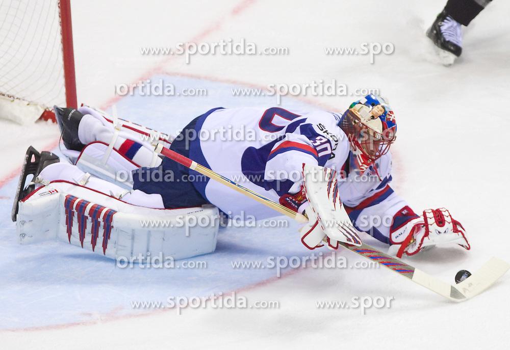 Jaroslav Halak of Slovakia during ice-hockey match between Slovakia and Germany of Group A of IIHF 2011 World Championship Slovakia, on May 1, 2011 in Orange Arena, Bratislava, Slovakia. Germany defeated Slovakia 4-3. (Photo By Vid Ponikvar / Sportida.com)