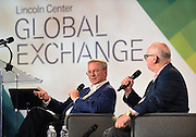 Eric Schmidt, left, Executive Chairman, Alphabet Inc., speaks with Matthew Bishop, of The Economist, at the inaugural Lincoln Center Global Exchange, Friday, Sept. 18, 2015, in New York. The event brought together 250 international thought leaders and change agents from business, government, education, media, science and the arts focused on advancing arts and culture as an engine for innovation and progress. <br /> (Photo by Diane Bondareff/Invision for Lincoln Center Global Exchange/AP Images)
