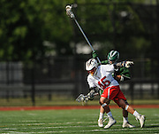 Lincoln-Sudbury Regional High School junior Eric Holden moves the ball up the field during the Division 1 North Championship game against Billerica Memorial High School at Connolly Memorial Stadium in Woburn, June 13, 2015. The Warriors beat the Indians, 12-8.   (Wicked Local Photo/James Jesson)