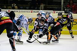 30.10.2016, Messestadion, Dornbirn, AUT, EBEL, Dornbirner Eishockey Club vs EHC Liwest Black Wings Linz, 16. Runde, im Bild v. l. Kevin Moderer (EHC Liwest Black Wings Linz, #72), James Arniel, ((Dornbirner Eishockey Club, #09), Matt Siddall, (Dornbirner Eishockey Club, #39) // during the Erste Bank Icehockey League 16th round match between Dornbirner Eishockey Club and EHC Liwest Black Wings Linz at the Messestadion in Dornbirn, Austria on 2016/10/30, EXPA Pictures © 2016, PhotoCredit: EXPA/ Peter Rinderer