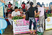 Organic food market with locally grown goods at Central Pier Hong Kong Hong Kong August 2008