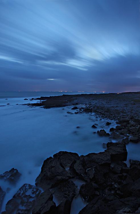 Summer night at Burren Ailladie coast Ireland