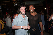 GREGORY DORAN; RAY FEARON, West End opening of RSC production of Julius Caesar at the Noel Coward Theatre on Saint Martin's Lane. After-party  at Salvador and Amanda, Gt. Newport St. London. 15 August 2012.