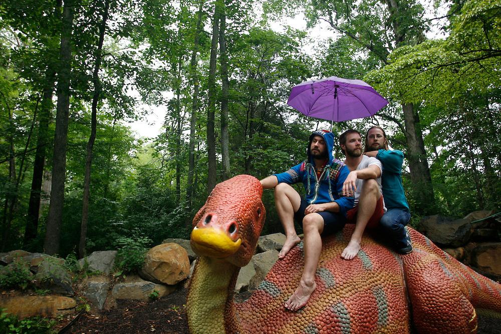 Akron Family; Dana Janssen, Seth Olinsky, and Miles Seaton in Durham, North Carolina, August 21, 2009.