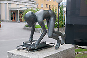 Bronze Sculpture of a Cresta Rider (1985) by David Wynne in St Moritz Switzerland