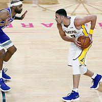 08 October 2017: Sacramento Kings guard Vince Carter (15) defends on Los Angeles Lakers forward Larry Nance Jr. (7) during the LA Lakers 75-69 victory over the Sacramento Kings, at the T-Mobile Arena, Las Vegas, Nevada, USA.