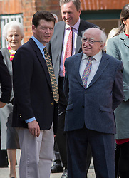Irish President Michael Higgins and trainer Andrew Balding during the  visit Park House stables,Kingsclere,Berkshire Thursday, 10th April 2014. Picture by i-Images