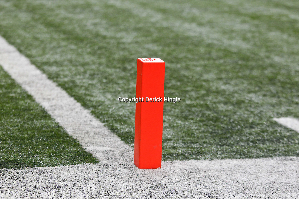 Dec 3, 2011; Atlanta, GA, USA; A detailed view of an end zone pylon during the first half of the 2011 SEC championship game between the LSU Tigers and the Georgia Bulldogs at the Georgia Dome.  Mandatory Credit: Derick E. Hingle-US PRESSWIRE