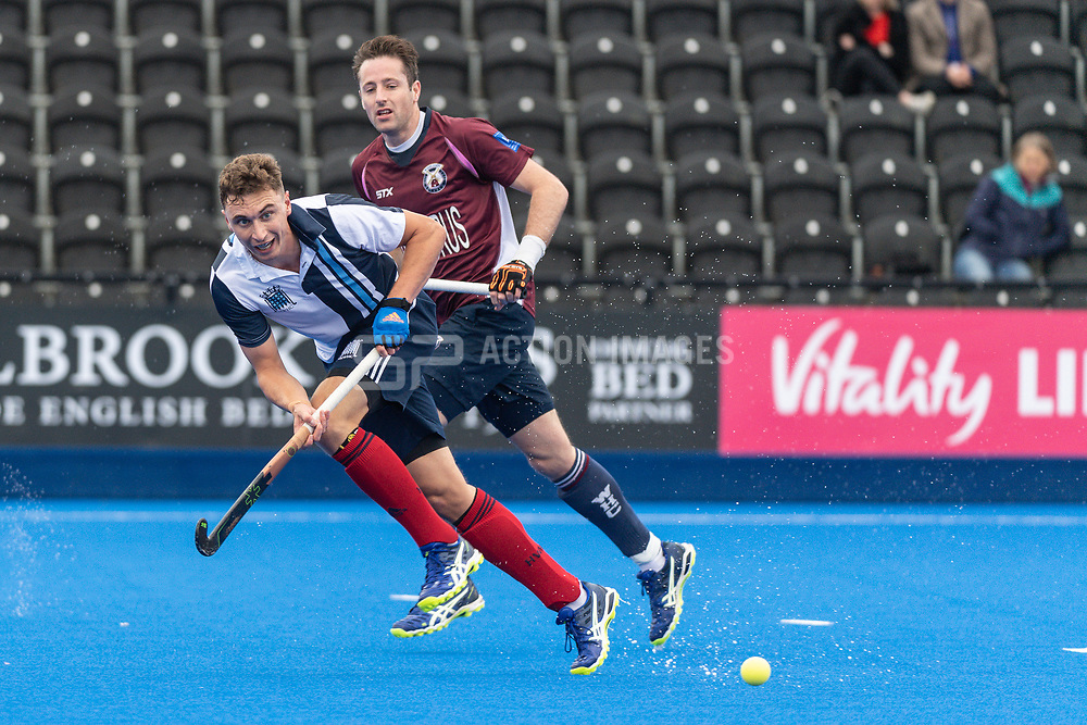 Hampstead & Westminster's Harry Martin. Wimbledon v Hampstead & Westminster - Men's Hockey League Finals, Lee Valley Hockey & Tennis Centre, London, UK on 28 April 2018. Photo: Simon Parker