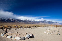 Marked graves at the Japanese cemetery with Sierra Nevada Mountains in the background, Manzanar National Historic Site, Independence, California