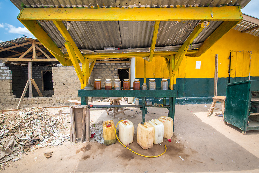 An outdoor gas station in Ganta, Liberia