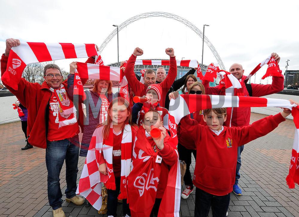Bristol City fans out side Wembley Stadium  - Photo mandatory by-line: Joe Meredith/JMP - Mobile: 07966 386802 - 22/03/2015 - SPORT - Football - London - Wembley Stadium - Bristol City v Walsall - Johnstone Paint Trophy Final