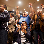 Supporters of President Barack Obama cheer after learning that he was reelected to a second term.