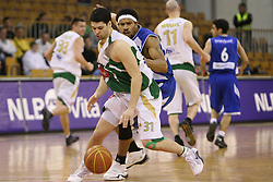 Saso Ozbolt of Olimpija and Desmon Farmer of Zadar at Round 25 of NLB League basketball match between KK Union Olimpija and KK Zadar,  in Arena Tivoli, Ljubljana, Slovenia, on March 14, 2009.  Win of Olimpija 73 : 67. (Photo by Vid Ponikvar / Sportida)