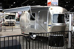 12 February 2015: Air Stream Trailer with awning. <br /> <br /> First staged in 1901, the Chicago Auto Show is the largest auto show in North America and has been held more times than any other auto exposition on the continent. The 2015 show marks the 107th edition of the Chicago Auto Show. It has been  presented by the Chicago Automobile Trade Association (CATA) since 1935.  It is held at McCormick Place, Chicago Illinois