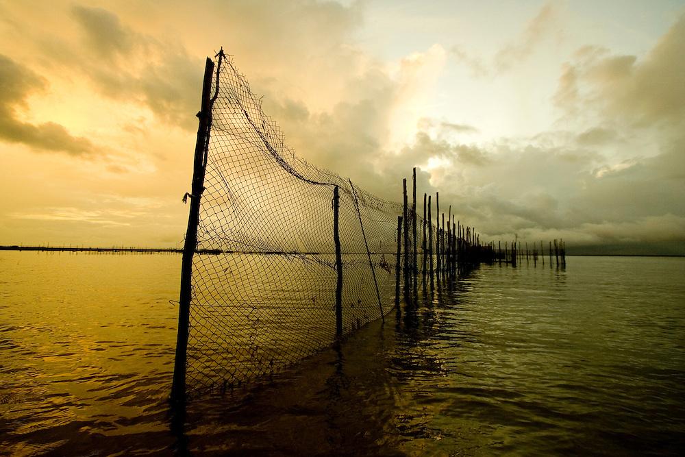 Fishing nets off the coast of Itacare, Bahia, Brazil