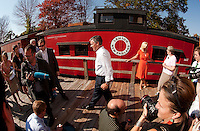 Republican Presidential candidate Jon Huntsman makes a stop at the Merrimack Valley Railroad Company in Tilton  during his New Hampshire visit Monday afternoon.  (Karen Bobotas/for the Concord Monitor)