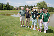 Left to right: Frank Csavina, Mike Bruckelmeyer, Julie Bruckelmeyer, David Brinkman, and Stacia Taylor at the alumni golf outing. Photo by Lauren Pond