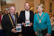 """Mayor of Galway County Cllr Thomas Welby, Ray Jordan Self Help Africa and Mayor of Galway City Cllr Terry O'Flaherty  at the launch of Ronan Scully's New booke """"Time Out"""" An Innovative collaboration of words, reflections and stories of goodness, tenderness and positivity for all our lives combine to great effect in this new publication published by Ballpoint Press in aid of Self Help Africa and `The Irish Guide dogs for the Blind  at Hotel Meyrick in Galway. Picture:Andrew Downes"""