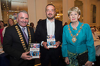 "Mayor of Galway County Cllr Thomas Welby, Ray Jordan Self Help Africa and Mayor of Galway City Cllr Terry O'Flaherty  at the launch of Ronan Scully's New booke ""Time Out"" An Innovative collaboration of words, reflections and stories of goodness, tenderness and positivity for all our lives combine to great effect in this new publication published by Ballpoint Press in aid of Self Help Africa and `The Irish Guide dogs for the Blind  at Hotel Meyrick in Galway. Picture:Andrew Downes"