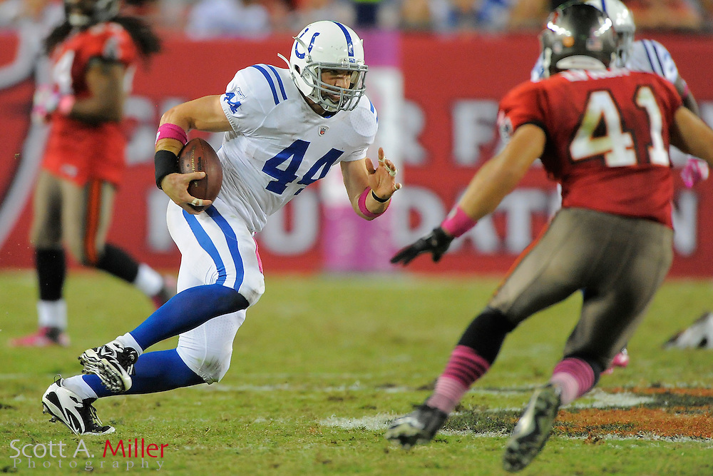 Indianapolis Colts tight end Dallas Clark (44) during the Colts 27-17 loss to the Tampa Bay Buccaneers at Raymond James Stadium on Oct. 3, 2011 in Tampa, Fla. ..©2011 Scott A. Miller