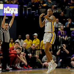 Jan 8, 2019; Baton Rouge, LA, USA; LSU Tigers guard Ja'vonte Smart (1) reacts after a three point basket against the Alabama Crimson Tide during the first half at the Maravich Assembly Center. Mandatory Credit: Derick E. Hingle-USA TODAY Sports