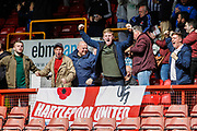 Hartlepool United fans celebrate their first goal during the EFL Sky Bet League 2 match between Leyton Orient and Hartlepool United at the Matchroom Stadium, London, England on 17 April 2017. Photo by Andrew Lewis.