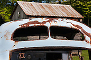 Rust on the roof of an old blue car, West Virginia May 2011
