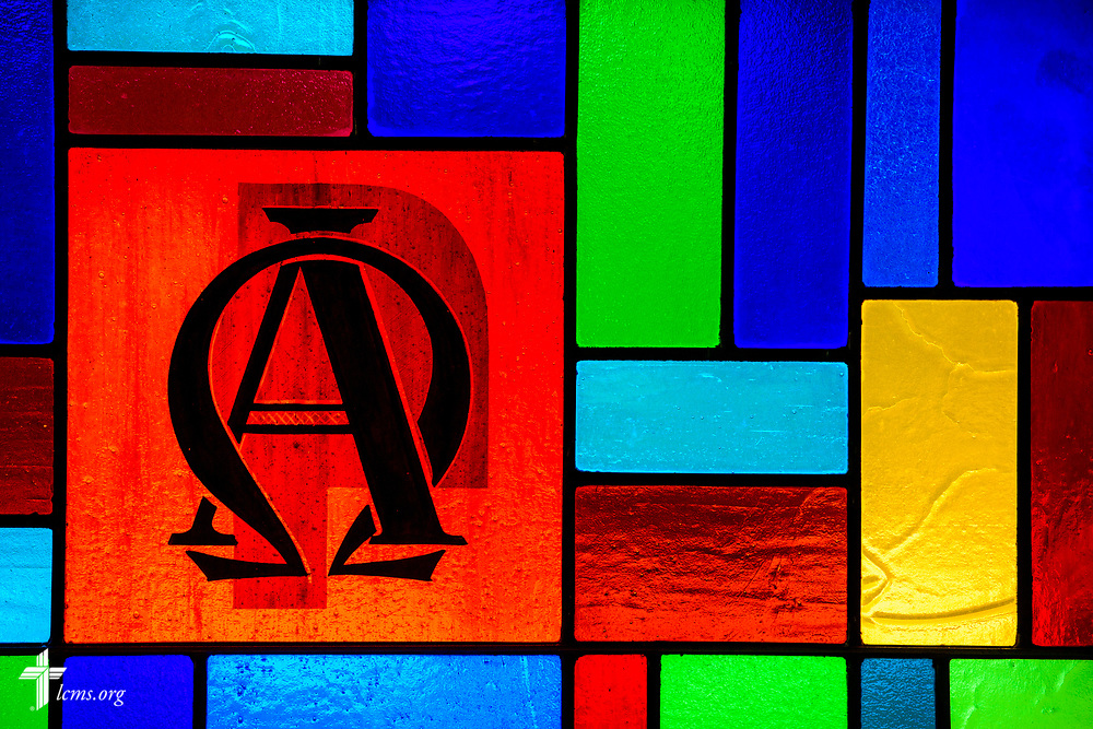 Stained glass depicting Alpha and Omega at Zion Lutheran Church, Worms, Neb., on Saturday, Sept. 23, 2017. LCMS Communications/Erik M. Lunsford