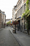 Quiet historic street early morning Wyck area of  central Maastricht, Limburg province, Netherlands,