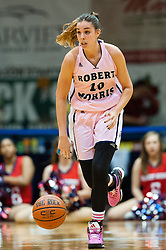 February 22 2016: Robert Morris Colonials guard Rebeca Navarro (10) brings the ball up court during the second half in the NCAA Women's Basketball game between the Long Island Blackbirds and the Robert Morris Colonials at the Charles L. Sewall Center in Moon Township, Pennsylvania (Photo by Justin Berl)