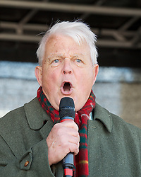 Bruce Kent speaks at Stand up to Racism and Fascism Rally  from Westminster to Trafalgar Square. Rally and speeches in Trafalgar Square including speeches by  Diane Abbott, MP.London, United Kingdom. Saturday, 22nd March 2014. Picture by Elliott Franks / i-Images