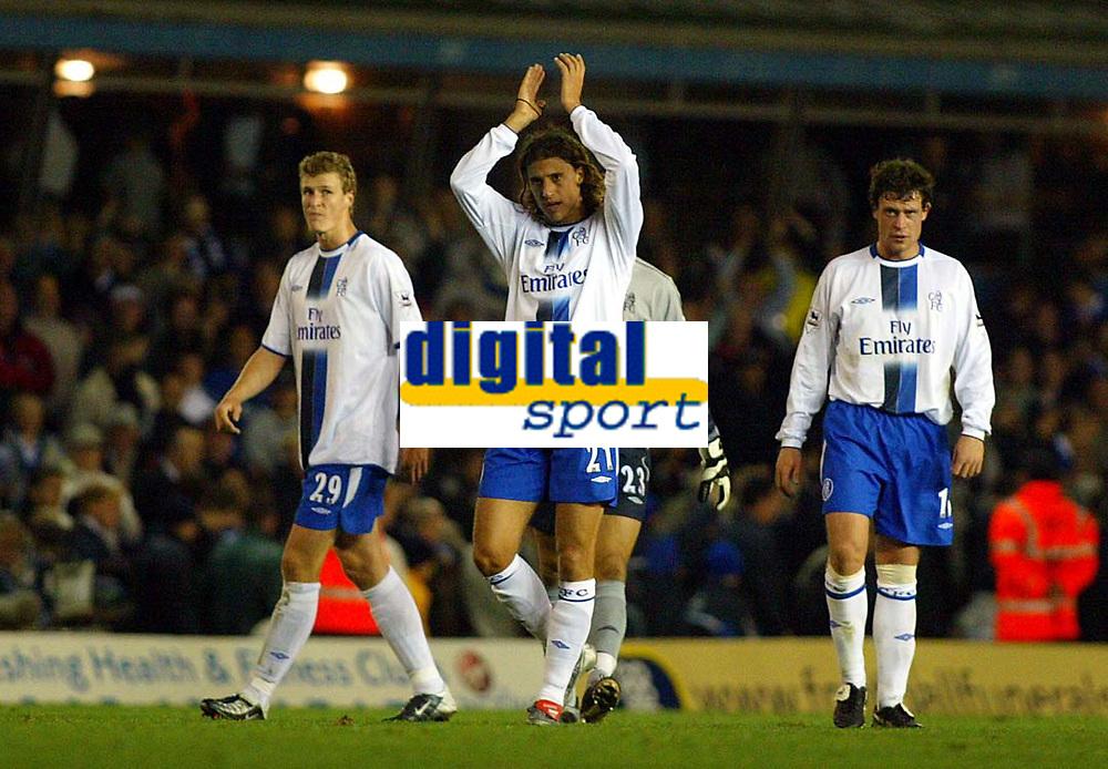 Photograph: Scott Heavey.<br />Birmingham v Chelsea. 14/10/2003. FA Barclaycard Premiership.<br />Hernan Crespo applauds the travelling Chelsea fans