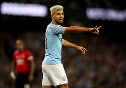 """Manchester City's Sergio Aguero gestures during the Premier League match at the Etihad Stadium, Manchester. PRESS ASSOCIATION Photo. Picture date: Sunday November 11, 2018. See PA story SOCCER Man City. Photo credit should read: Nick Potts/PA Wire. RESTRICTIONS: EDITORIAL USE ONLY No use with unauthorised audio, video, data, fixture lists, club/league logos or """"live"""" services. Online in-match use limited to 120 images, no video emulation. No use in betting, games or single club/league/player publications."""