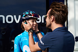 Sheyla Gutierrez Ruiz (ESP) jokes with team staff before Ladies Tour of Norway 2019 - Stage 3, a 125 km road race from Moss to Halden, Norway on August 24, 2019. Photo by Sean Robinson/velofocus.com
