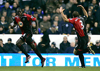Photo: Tom Dulat.<br /> <br /> Tottenham Hotspur v Blackburn Rovers. The FA Barclays Premiership. 28/10/2007.<br /> <br /> Christopher Samba(L) celebrates his second goal together with Stephen Warnock(R) for Blackburn Rovers . Blackburn Rovers leads 2-1