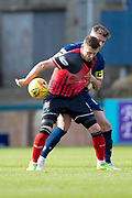 8th September 2019; Dens Park, Dundee, Scotland; Tunnocks Caramel Wafer Cup, Dundee Football Club versus Elgin City; Shane Sutherland of Elgin City challenges for the ball with Josh Meekings of Dundee