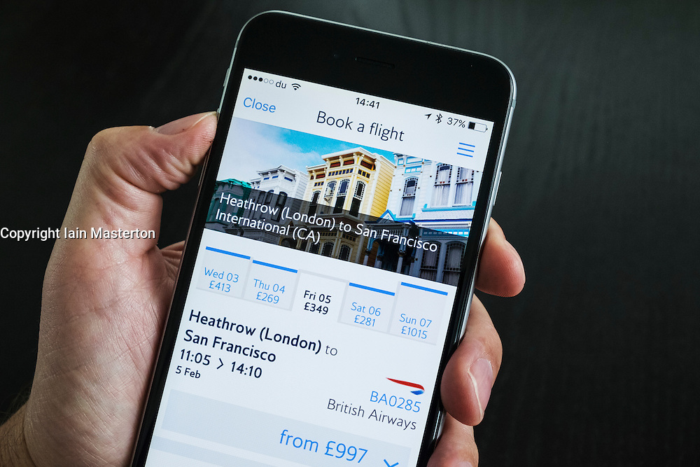 British Airways flight booking app on an iPhone 6 Plus smart phone