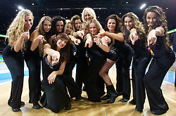 Cheerleaders of Klaipeda University after the final basketball game between National basketball teams of Spain and France at FIBA Europe Eurobasket Lithuania 2011, on September 18, 2011, in Arena Zalgirio, Kaunas, Lithuania. Spain defeated France 98-85 and became European Champion 2011, France placed second and Russia third. (Photo by Vid Ponikvar / Sportida)