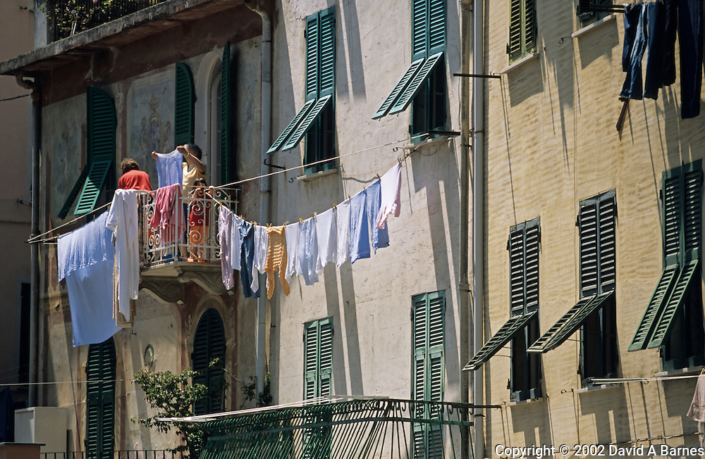 Hanging out wash to dry; Riomaggiore; Cinque Terre, Liguria; Italy.