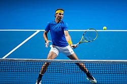 January 7, 2019 - Sydney, NSW, U.S. - SYDNEY, AUSTRALIA - JANUARY 07: Rafael Nadal (ESP) volleys at The Sydney FAST4 Tennis Showdown on January 07, 2018, at Qudos Bank Arena in Homebush, Australia. (Photo by Speed Media/Icon Sportswire) (Credit Image: © Steven Markham/Icon SMI via ZUMA Press)