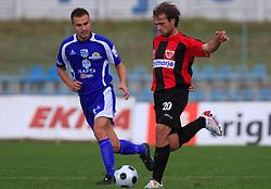 Amel Mujakovic  (8) of Nafta and Dalibor Teinovic of Primorje  at 12th Round of PrvaLiga Telekom Slovenije between NK Primorje vs NK Nafta Lendava, on October 5, 2008, in Town stadium in Ajdovscina. Nafta won the match 2:1. (Photo by Vid Ponikvar / Sportal Images)
