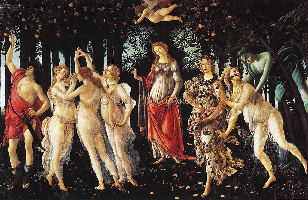 La Primavera', c. 1482; painting by the Italian Renaissance painter Sandro Botticelli c. 1445 - 1510. Venus is standing in the center of the picture. Above her, Cupid is aiming one of his arrows of love at the Charites (Three Graces). The Grace on the rig