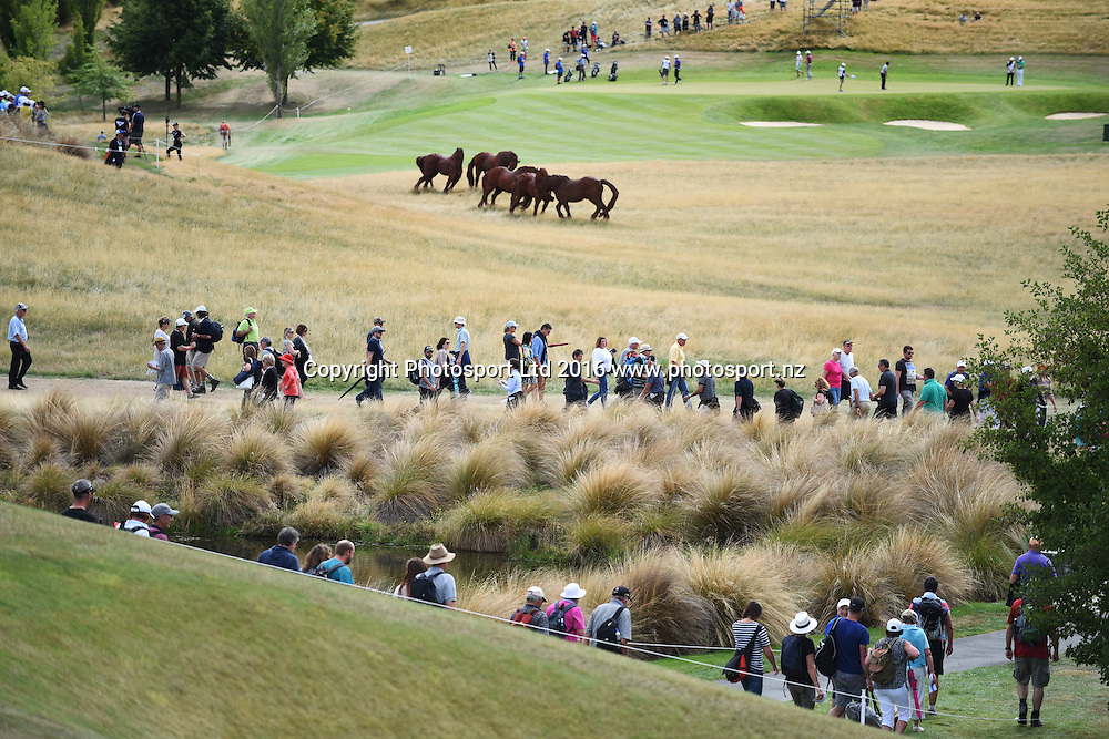 Galleries follow the play during round 4 at The Hills during 2016 BMW ISPS Handa New Zealand Open. Sunday 13 March 2016. Arrowtown, New Zealand. Copyright photo: Andrew Cornaga / www.photosport.nz