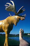 Footograph: Photograph of my right foot by a giant fibreglas statue of a moose in Black River Falls, Wisconsin USA