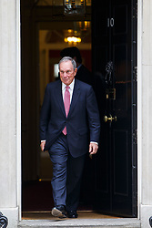 © Licensed to London News Pictures. 19/05/2016. London, UK. Former Mayor of New York City and business magnate MICHAEL BLOOMBERG leaving Downing Street in London after a meeting with Prime Minister David Cameron on dangers of possible 'Brexit' and Britain's EU referendum on Thursday, 19 May 2016. Photo credit: Tolga Akmen/LNP