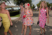ROCHIN VINALL; OLIVIA GRANT; AMBER VINALL; BINDY VINALL, Glorious Goodwood. Ladies Day. 28 July 2011. <br /> <br />  , -DO NOT ARCHIVE-© Copyright Photograph by Dafydd Jones. 248 Clapham Rd. London SW9 0PZ. Tel 0207 820 0771. www.dafjones.com.