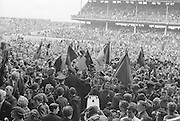 All Ireland Senior Football Championship Final, Kerry v Down, 22.09.1968, 09.22.1968, 22nd September 1968, Down 2-12 Kerry 1-13, Referee M Loftus (Mayo)..Joe Lennon Down Captain is shouldered off the pitch by supporters, .