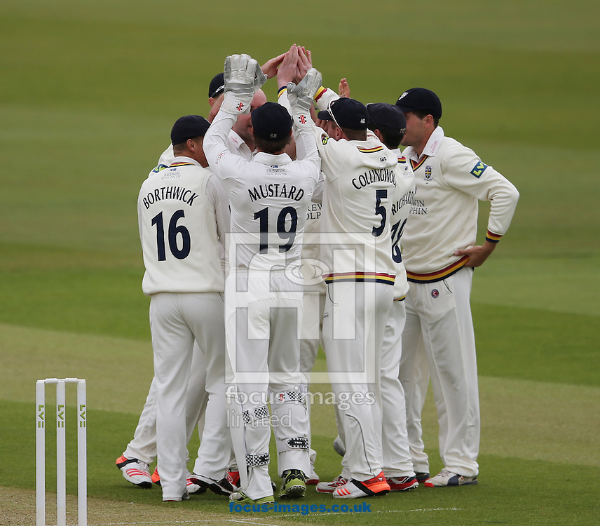 Durham celebrate the wicket of Brendan Taylor (not shown) of Nottinghamshire during the LV County Championship Div One match at Emirates Durham ICG, Chester-le-Street<br /> Picture by Simon Moore/Focus Images Ltd 07807 671782<br /> 10/05/2015